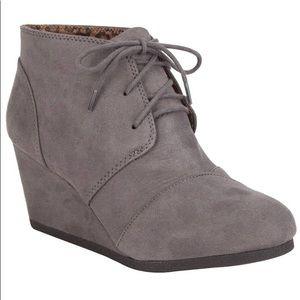 Grey wedge booties